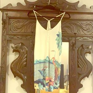 Tunic with unique floral and bird illustration